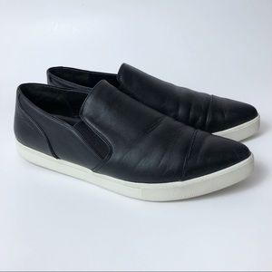 ince Paeyre Slip On Black Leather Sneaker Shoes